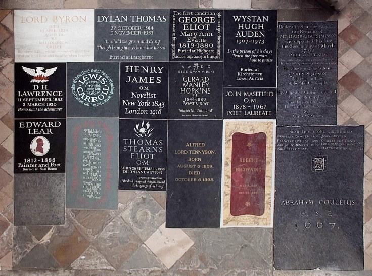 Westminster Abbey Poets' Corner modern stones